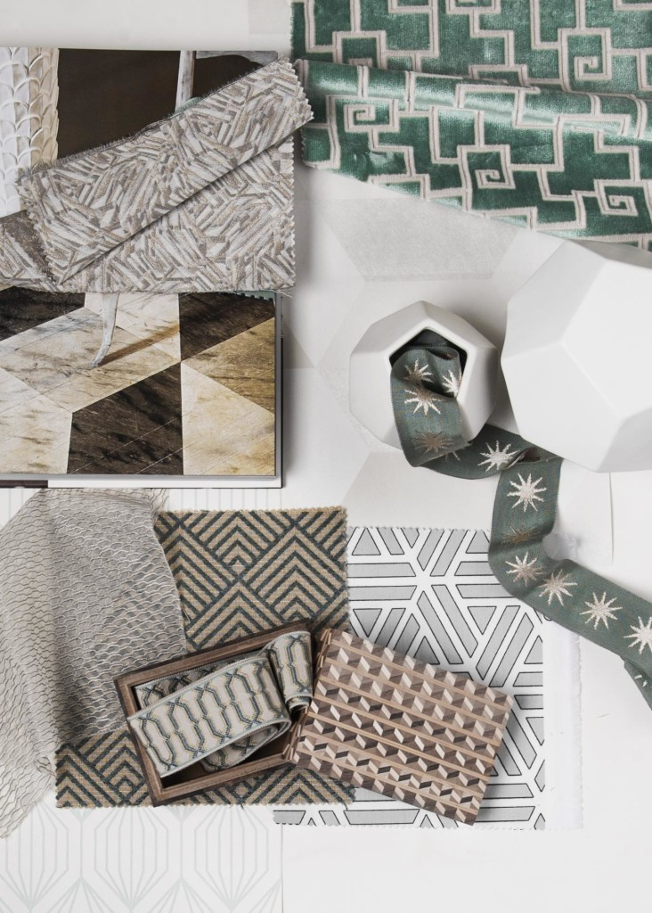 geometric fabrics, geometric trimmings, contemporary fabric designs