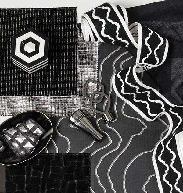 Fabricut black and white fabrics, trimmings, hardware